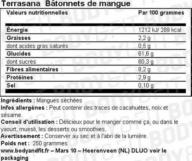 Bâtonnets de mangue Nutritional Information 1