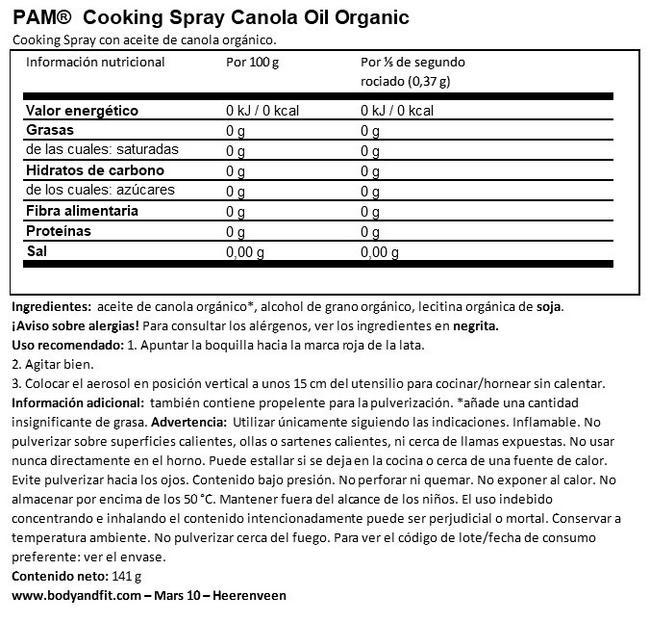 Aceite de Canola Spray para Cocinar (Orgánico) Nutritional Information 1