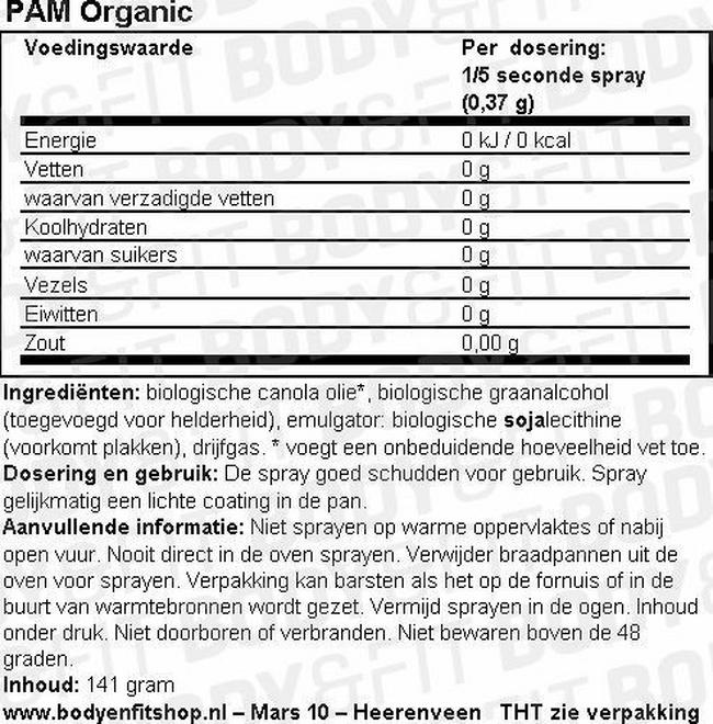 PAM Organic Nutritional Information 1