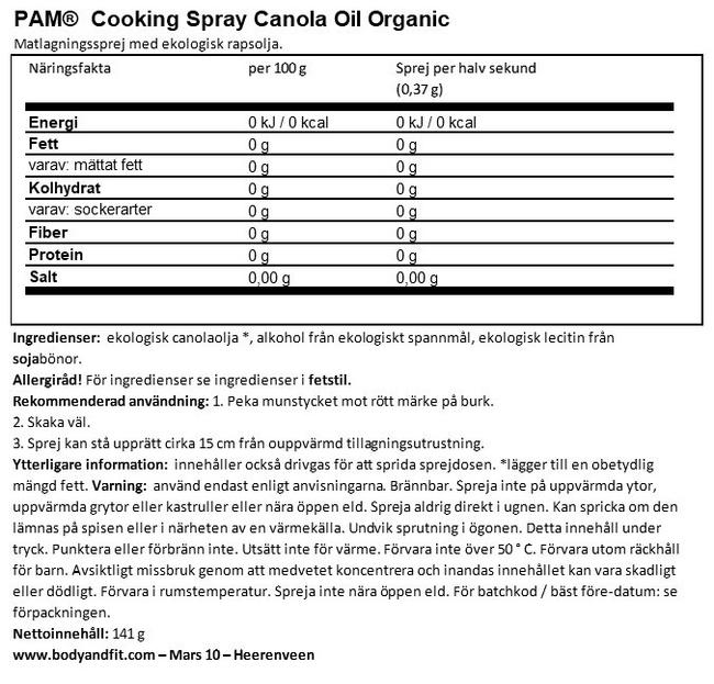 Organic Cooking Spray Canola Oil Nutritional Information 1