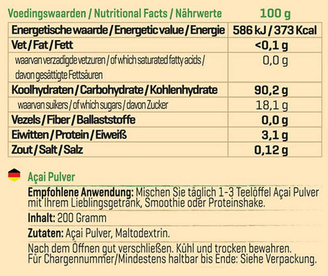 Pure Acai Pulver Nutritional Information 1