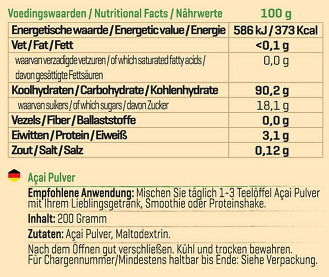 Pure Acai Pulver Nutritional Information 1