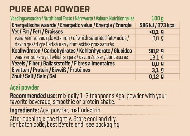 Pure Acai Powder Nutritional Information 1
