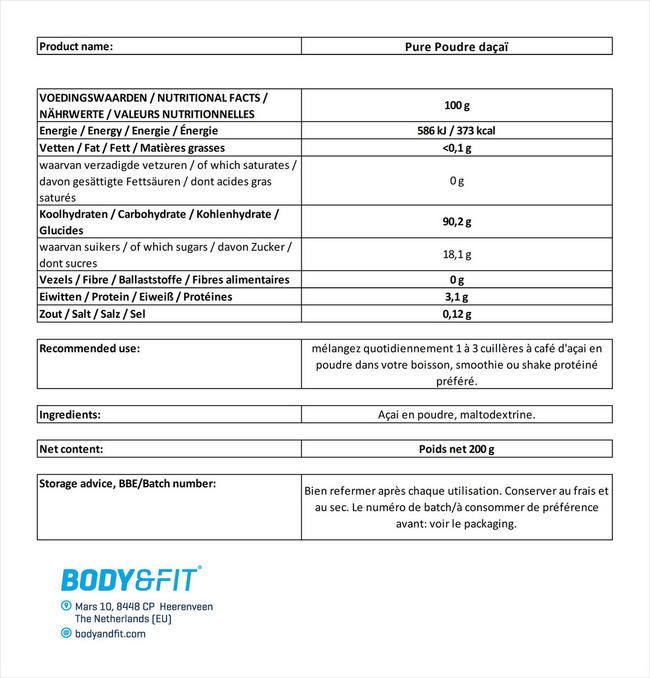 Poudre d'açai Pure Acai Powder Nutritional Information 1