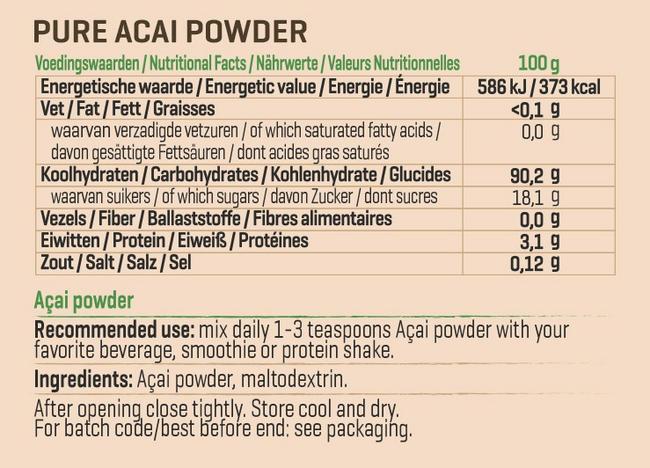 ピュアアサイ パウダー Nutritional Information 1