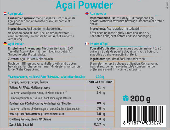 Pure Acai Poeder Nutritional Information 1
