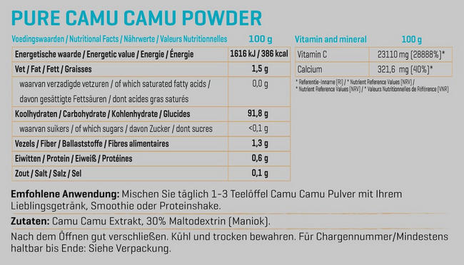 Pure Camu-Camu Pulver Nutritional Information 1