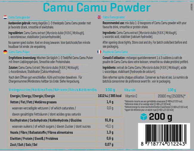Pure Camu Camu poeder Nutritional Information 1