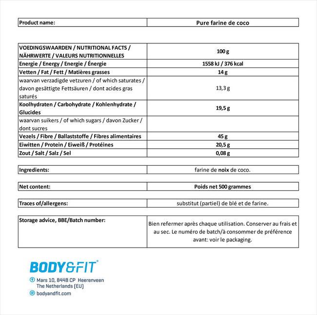 Pure farine de coco Nutritional Information 1