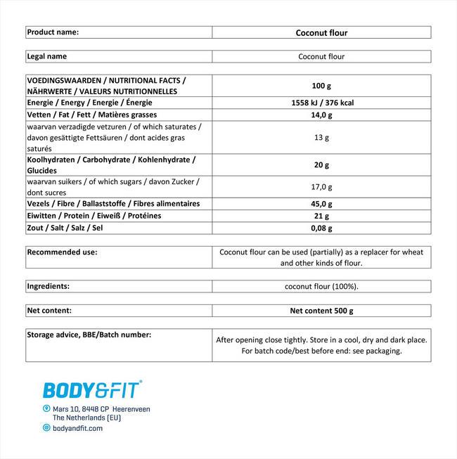 ピュアココナッツフラワー Nutritional Information 1