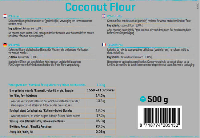 Pure Kokosmeel Nutritional Information 1