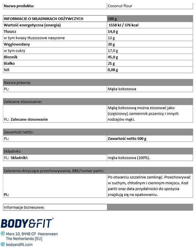 Mąka kokosowa Pure Nutritional Information 1