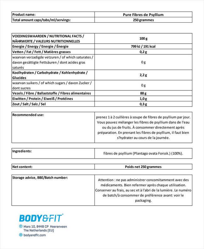 Fibres de cosse de psyllium Pure Psyllium Husk Fiber Nutritional Information 1