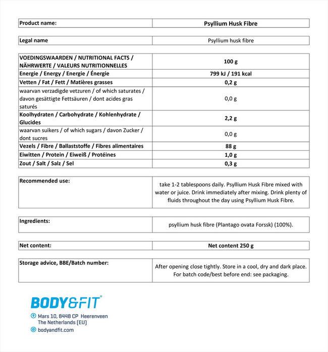 ピュアシリアムハスクファイバー Nutritional Information 1