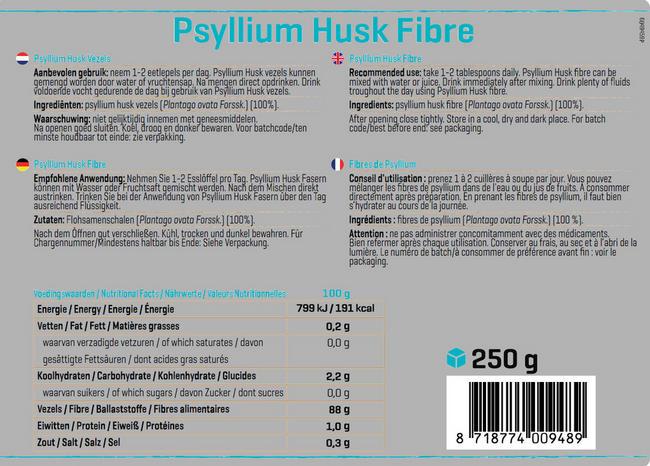Pure Psyllium Husk vezels Nutritional Information 1