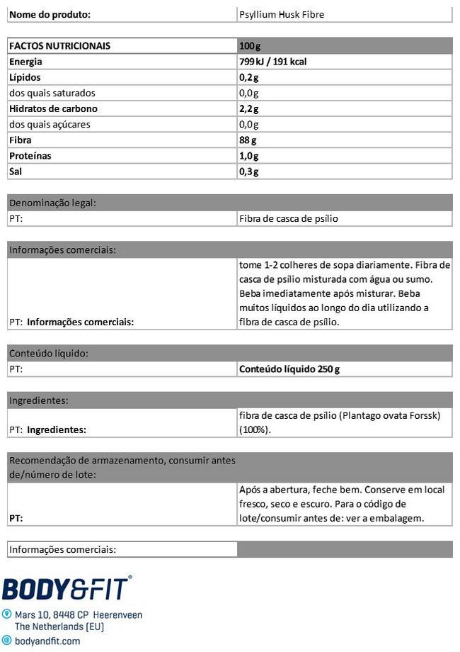 Pure Psyllium Husk Fibre Nutritional Information 1