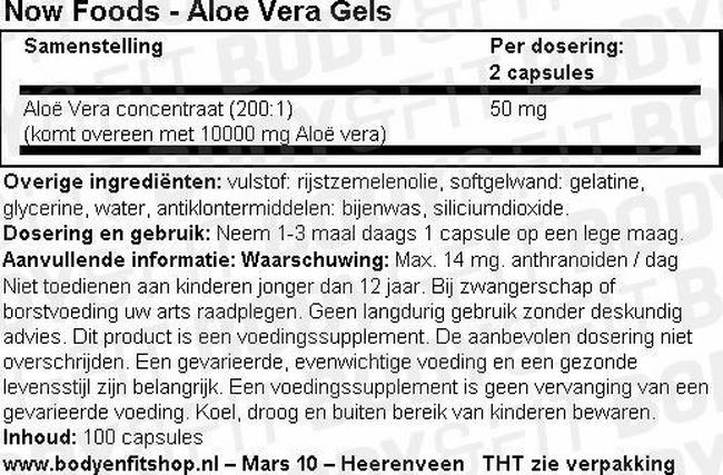 Aloe Vera Softgels Nutritional Information 1