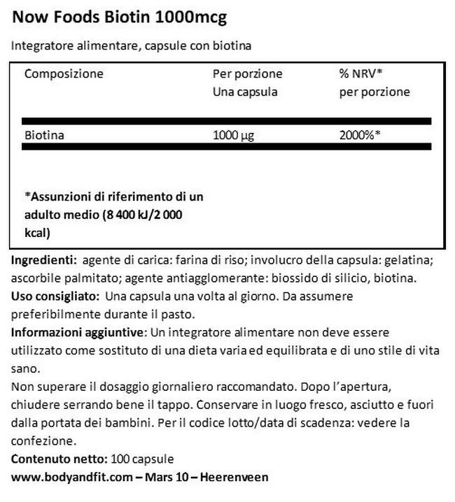 Biotina 1000 Nutritional Information 1