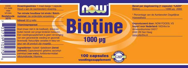 Biotin 1000mcg Nutritional Information 1