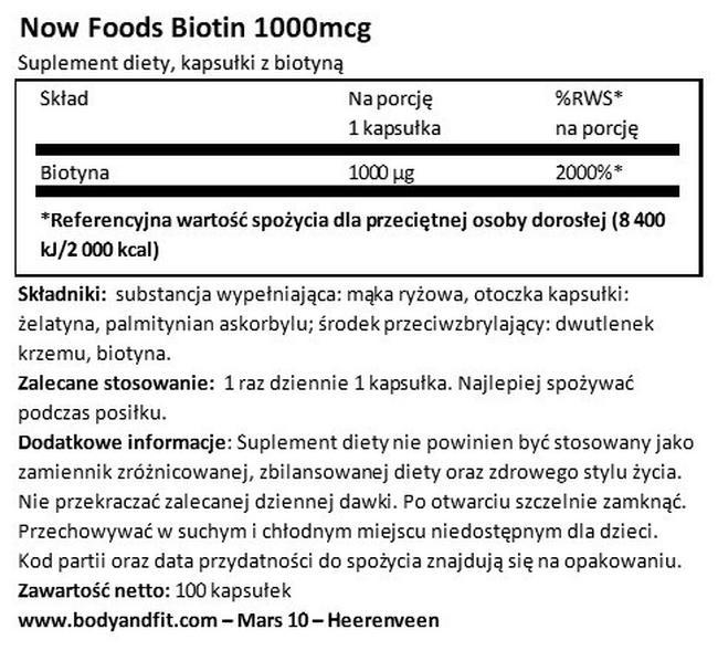 Biotyna 1000 Nutritional Information 1