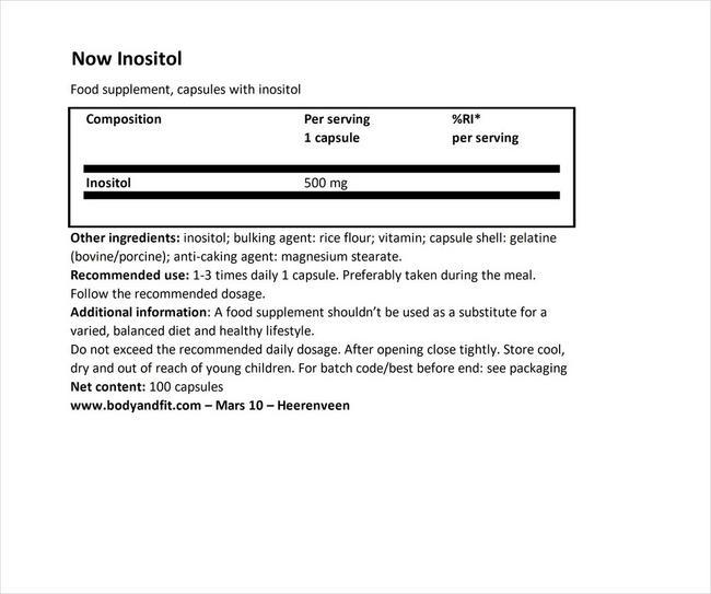 イノシトールカプセル Nutritional Information 1