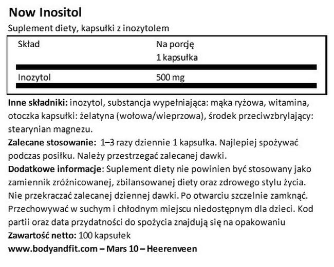 Inositol Capsules Nutritional Information 1