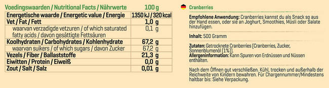 Pure Cranberries Nutritional Information 1