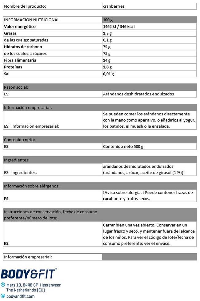 Arándanos puros Nutritional Information 1