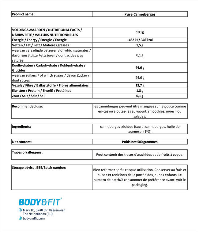 Canneberges Pure Cranberries Nutritional Information 1