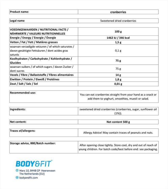 ピュアクランベリー Nutritional Information 1