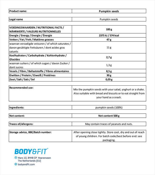 Pure Kürbiskerne Nutritional Information 2