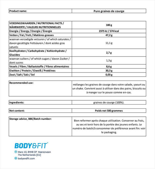 Graines de citrouille Pure Pumpkin Seeds Nutritional Information 1