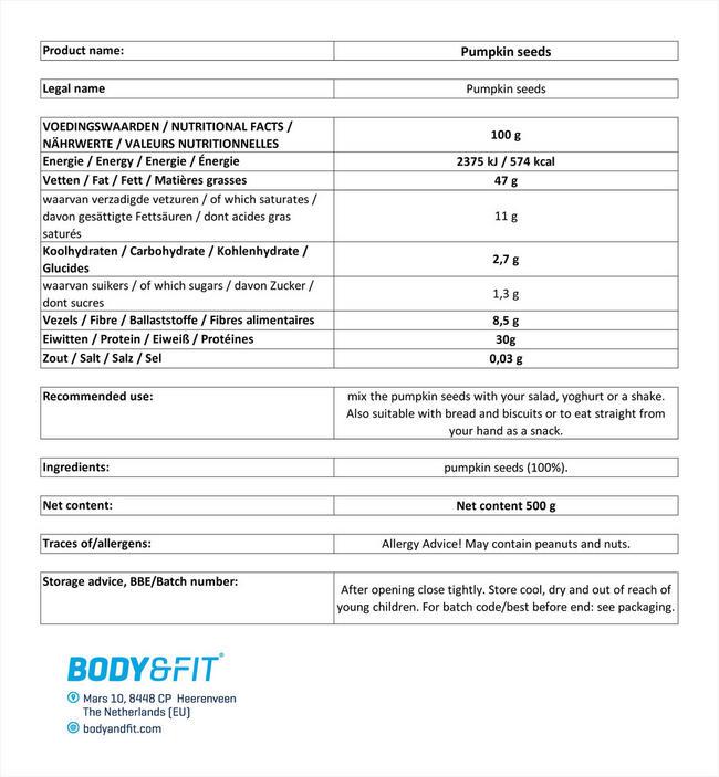 ピュアパンプキンシード Nutritional Information 1