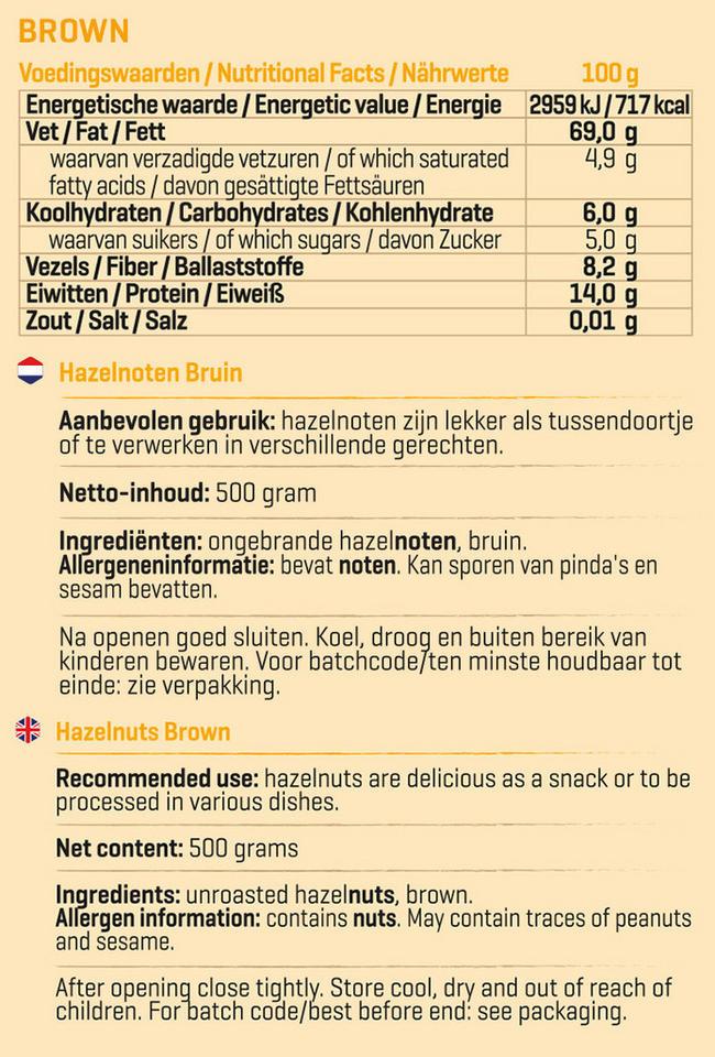 Pure Hazelnoten bruin Nutritional Information 1