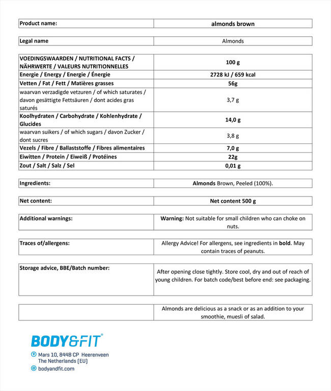 Pure Almonds Brown Nutritional Information 1