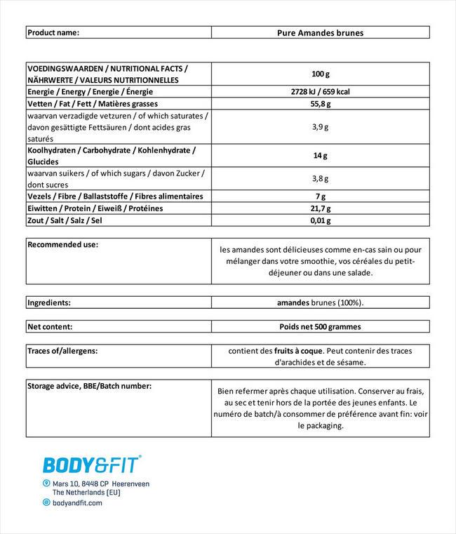Amandes brunes pures Nutritional Information 1