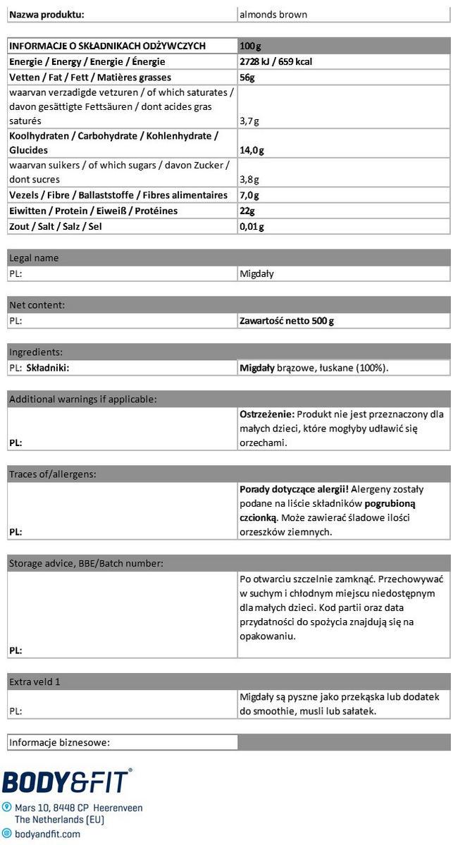 Brązowe migdały Pure Nutritional Information 1