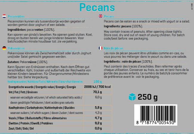Pure Pekannüsse Nutritional Information 1
