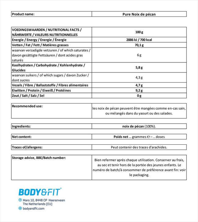 Noix de pécan Pure Pecans Nutritional Information 1