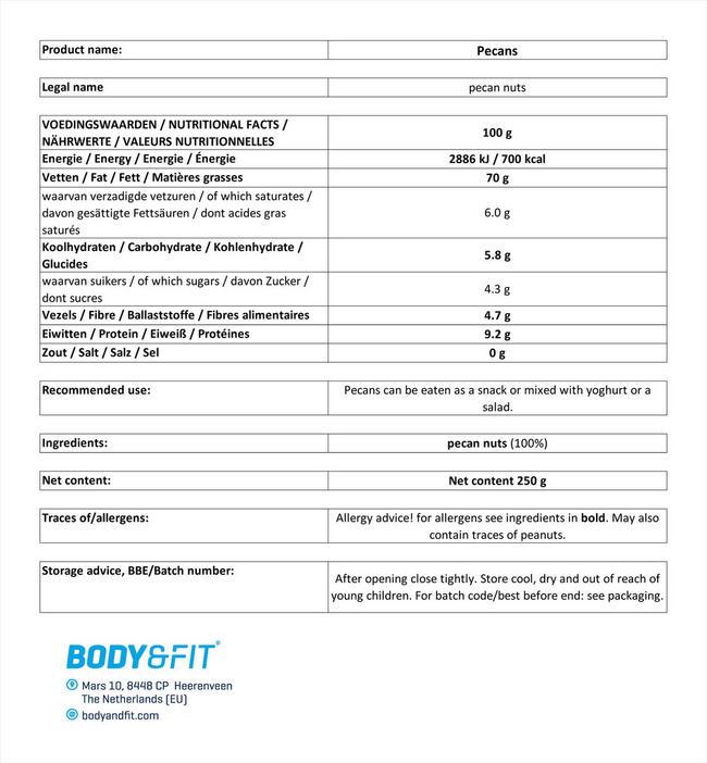 ピュアペカンナッツ Nutritional Information 1