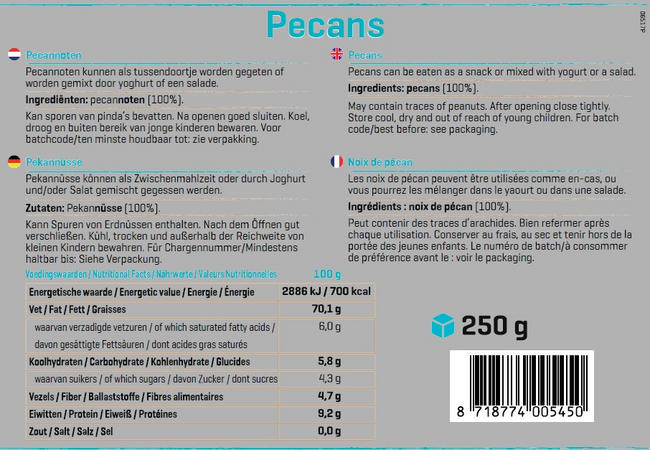 Pure Pecannoten Nutritional Information 1