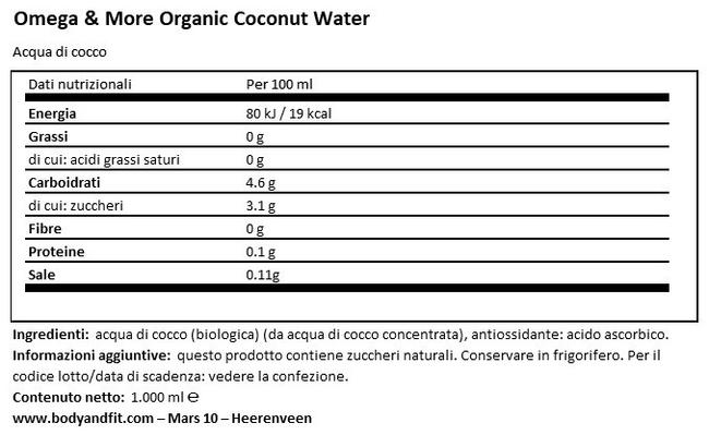 Acqua di Cocco bio Nutritional Information 1