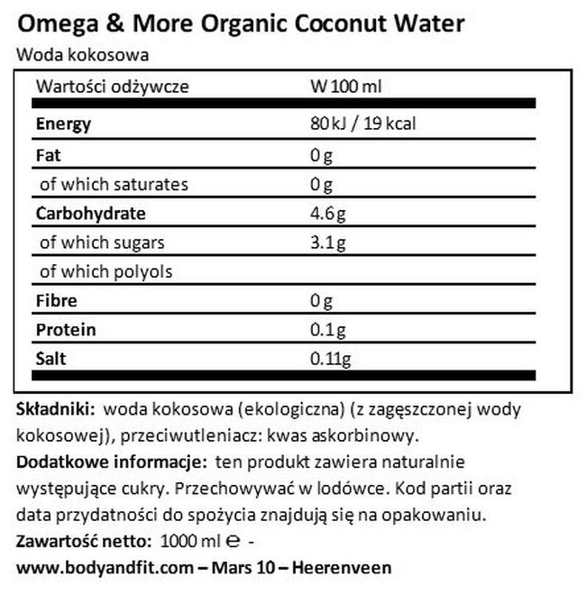 Ekologiczna woda kokosowa Nutritional Information 1