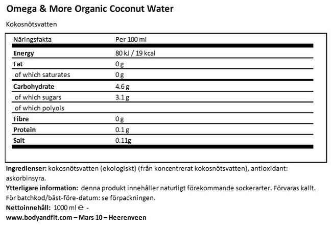 Organic Coconut Water Nutritional Information 1