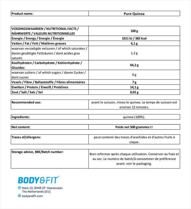 Pure Quinoa Nutritional Information 1