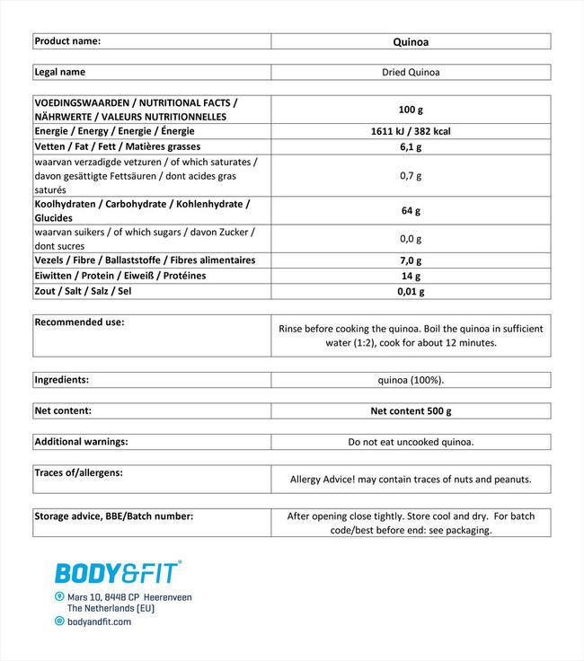 ピュアキノア Nutritional Information 1