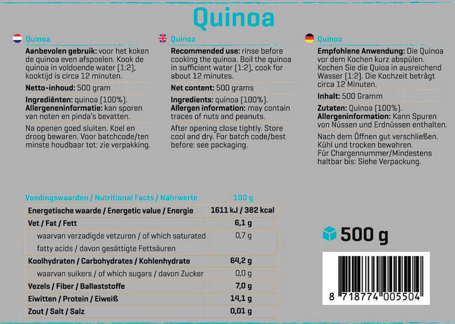 Pure Quinoa Nutritional Information 1