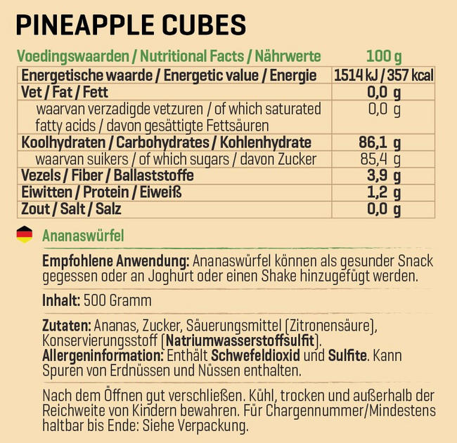 Ananaswürfel Nutritional Information 1