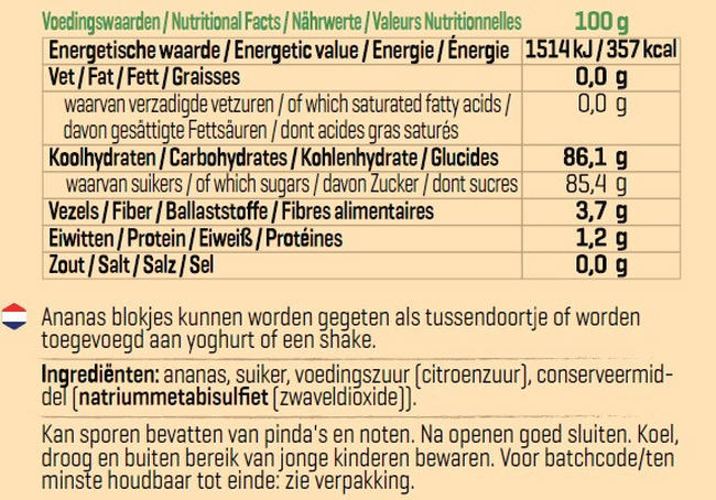 Ananas Blokjes Nutritional Information 1