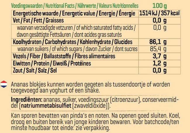 Ananas Blokjes Nutritional Information 1